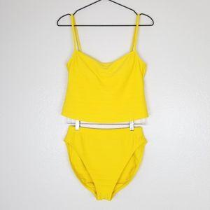 LA BLANCA Tankini Two Piece Swim Suit Yellow 10